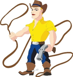 Cowboy with lasso and revolver vector image