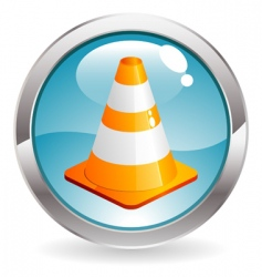 Gloss button with traffic cone vector