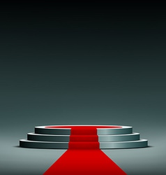 Red carpet on pedestal vector