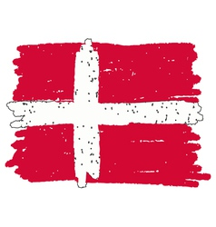 Flag of denmark handmade vector