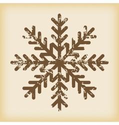 Grungy snowflake icon vector image