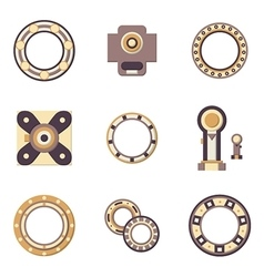 Bearings flat color icons vector