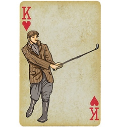 Playing card king - vintage golfer an man freehand vector