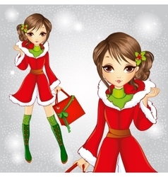 Fashion brunette girl in santa claus coat vector