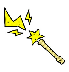 Comic cartoon magic wand casting spell vector