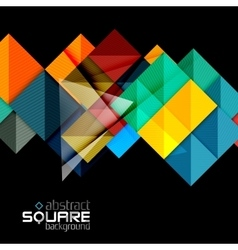 Glossy color squares on black geometric abstract vector