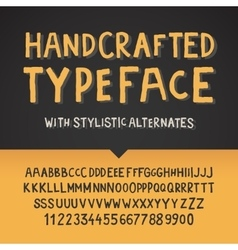 Handcrafted typeface letters and numbers vector