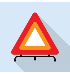 Red reflecting traffic warning triangle vector