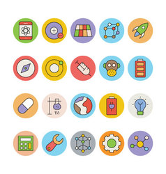 Science and technology colored icons 2 vector