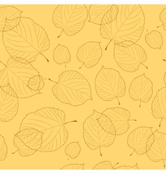 Seamless pattern of autumn leaves on the beige bac vector