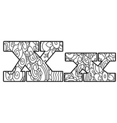 Anti coloring book alphabet the letter x vector