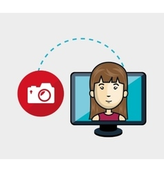 avatar woman and computer monitor vector image vector image