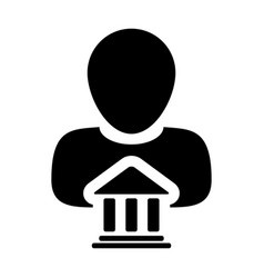 bank icon with person profile male avatar symbol vector image