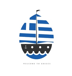 Boat with greek flag on white background vector