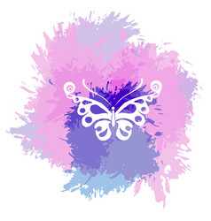 Butterflies silhouette on a abstract watercolor vector