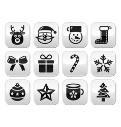 Christmas buttons set - santa present tree vector image