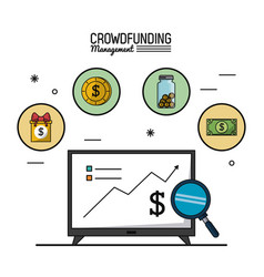 Colorful poster of crowd funding management with vector