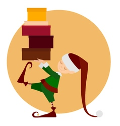 Cristmass elf with gifts vector