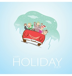 Family and dog travel on Christmas vector image vector image