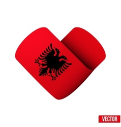 Flag icon in the form of heart i love albania vector