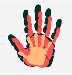 Handprint of family palm of man woman and child vector