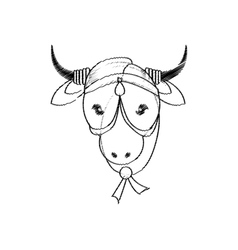Head indian sacred cow decorative vector