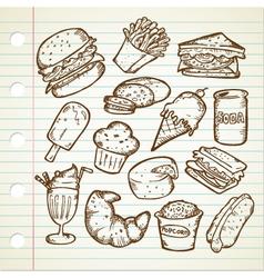 JUNK FOOD DOODLE vector image vector image