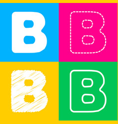 Letter b sign design template element four styles vector