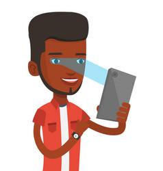 man using iris scanner to unlock mobile phone vector image vector image