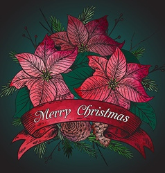 Merry Christmas greeting card with hand drawn vector image vector image