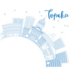 Outline topeka skyline with blue buildings vector