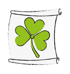 Paper with clover or shamrock saint patricks day vector