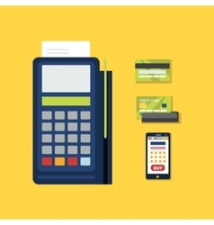 Pos terminal with credit card icon vector