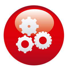 Red gears emblem icon vector