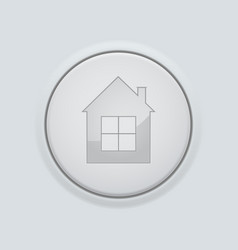 Round home button on gray interface background vector
