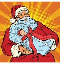 Santa claus with gift - newborn girl vector