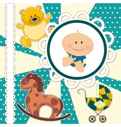 scrapbooking card for baby boy vector image vector image