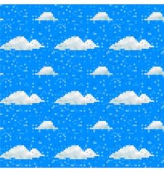 Seamless cloud pattern pixel art vector