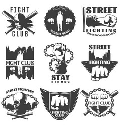 Street fighting black white labels vector