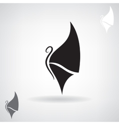 Stylized black silhouette of a butterfly vector image