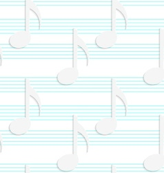 White 3D with colors music notes on blue stripes vector image