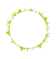 White pattern with green leaves vector
