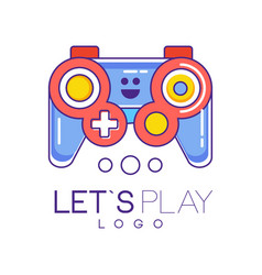 Xbox gamepad logo design in line style with red vector