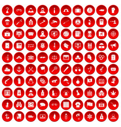 100 crime investigation icons set red vector