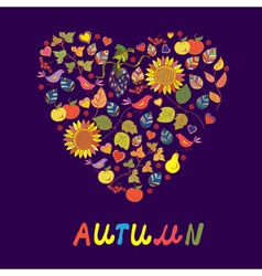 Autumn floral heart background vector