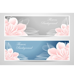 Two flowers banners on blue grey background vector