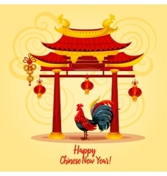 Chinese new year rooster greeting card design vector