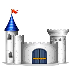 A castle with a red flag vector