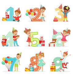 Little children birthday celebration set with vector