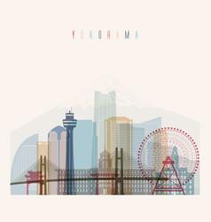 yokohama skyline detailed silhouette vector image